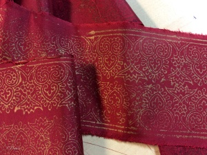 printed fabric for the trim on the sleeves and arm bands