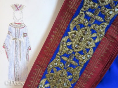Hanging sash next to the original sketch