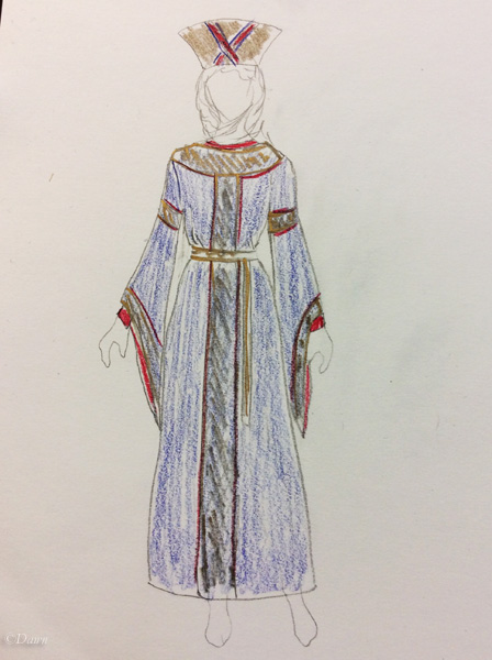 Sketch of what I have in mind for my Byzantine costume