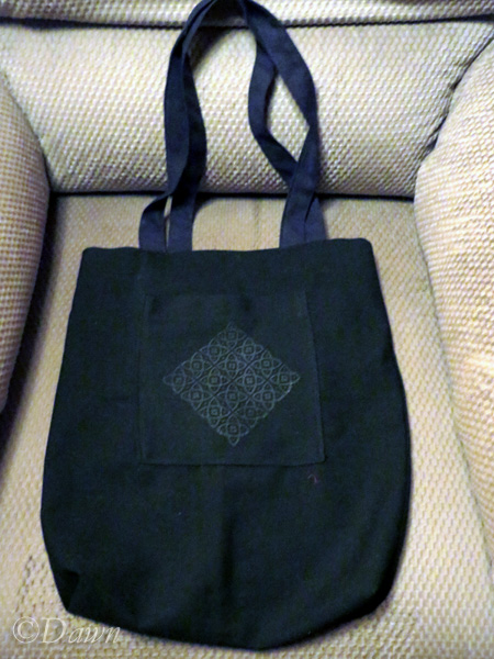 Outside of the finished bag, with a printed pocket