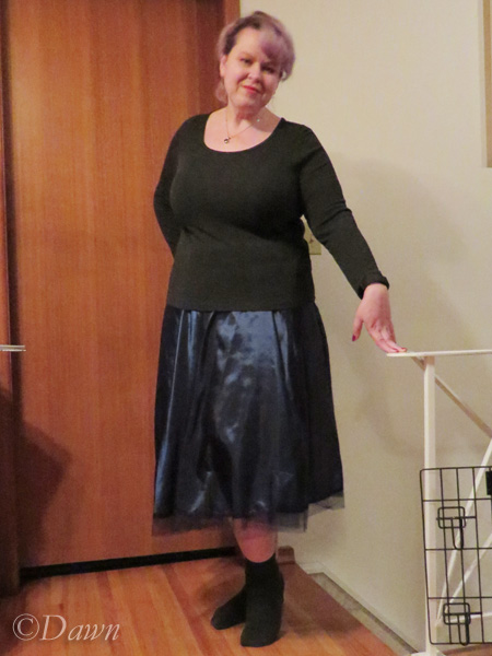 Blue taffeta circle skirt with a store-bought top