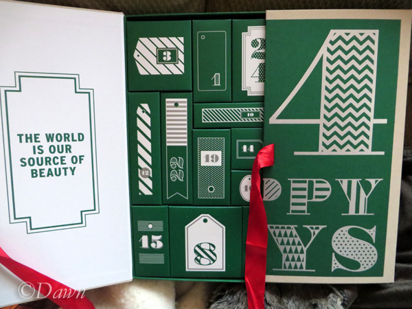 Opening up the Body Shop advent calendar