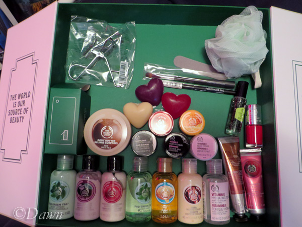 All 25 days of goodies from The Body Shop