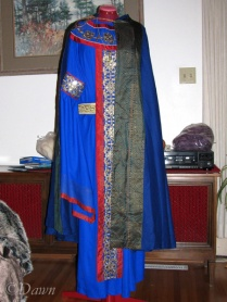 11th Century Byzantine costume (partial, on the dress form)