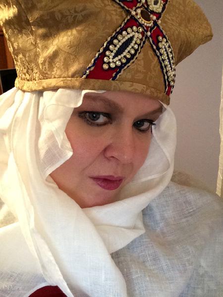 iPad selfie wearing my hat and veil