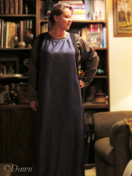 Blue silk sideless surcote (over a silver silk underdress)