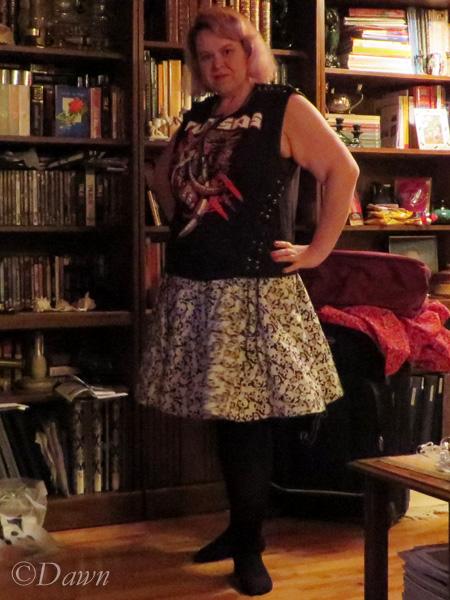 Skull-print circle skirt (with an altered Turisas band shirt)