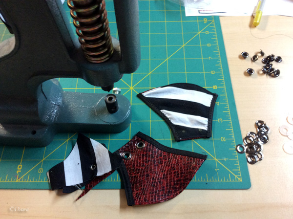 Using my press to install grommets in the mask