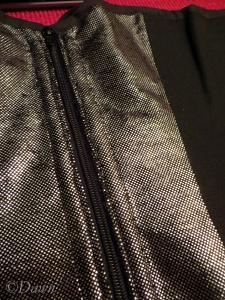 Zipper-front silver foil-printed black velvet corset
