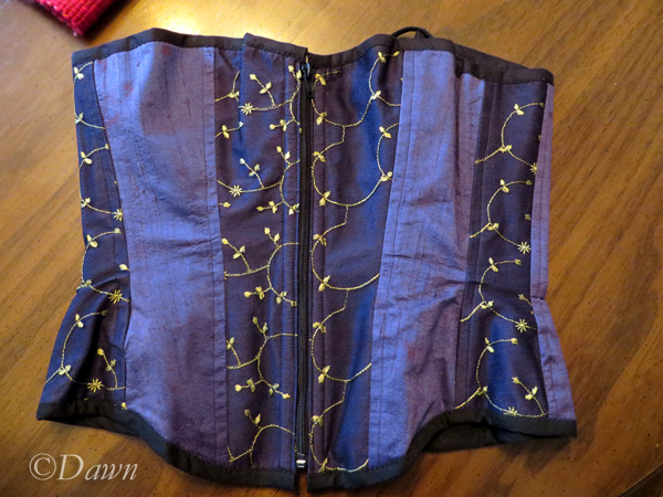 Front of the purple silk corset
