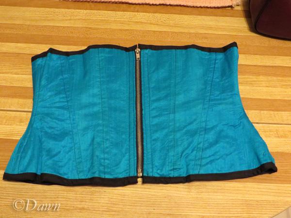 Teal blue underbust silk corset