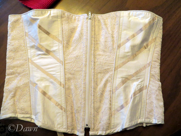 Front of the white silk overbust corset
