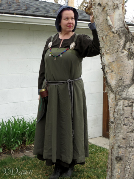 Drab green apron dress worn with my previously made dark green wool underdress