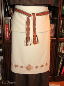My new Finnish Iron Age outfit, minus the underdress. Apron close up