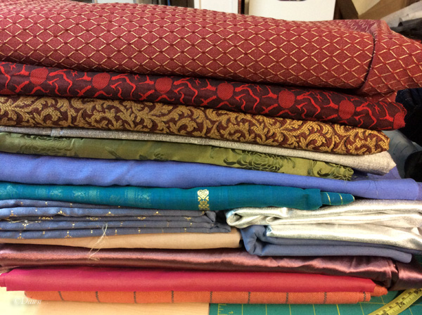 not-wool fabrics (upholstery, silk, sari, etc) from the 2016 Grandmother's Fabric sale