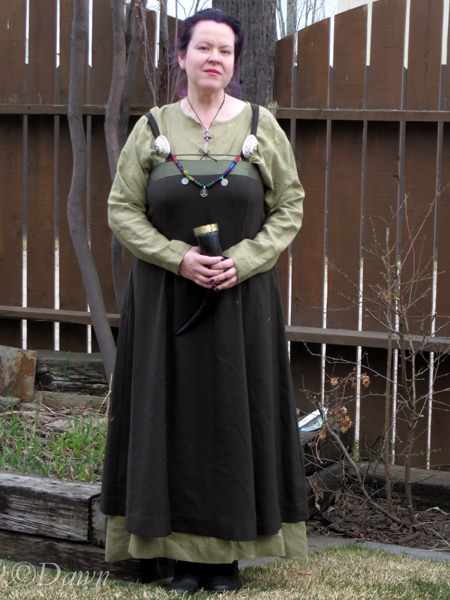 """Dried herb"" linen underdress worn with a dark wool apron dress that I'll blog about soon."