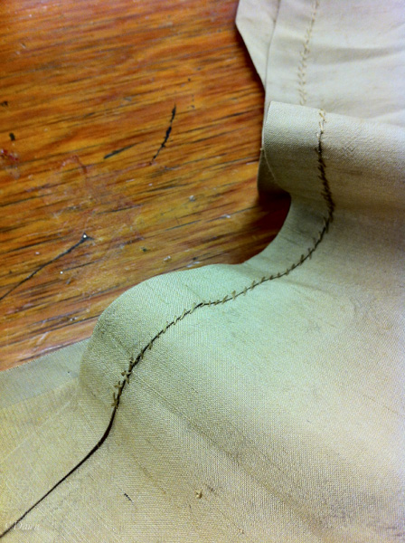 Hemming the rounded edge (iPhone photo)