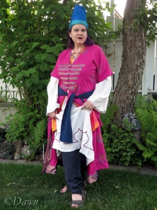 Lifting my hems to show off the Shalwar of my Ottoman Empire costume