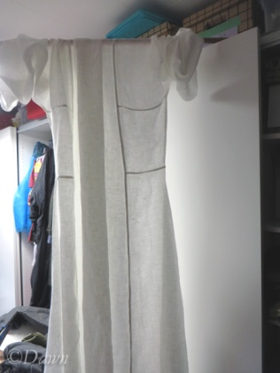 Letting the linen dress hang out before hemming.
