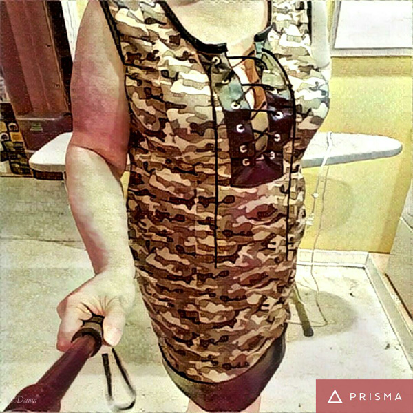Camo knit dress (selfie stick)