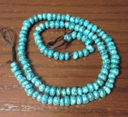 Egyptian Faience beads made by Alysa Harron of Fuzzy Lizard Studio