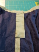 "The inside of the finished waist with the ""fly"" or placket"