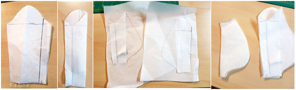 Trying out the bag-sleeve pattern in paper