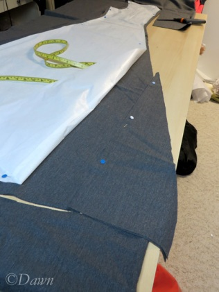 Adding in the extra piece for the back of the skirt
