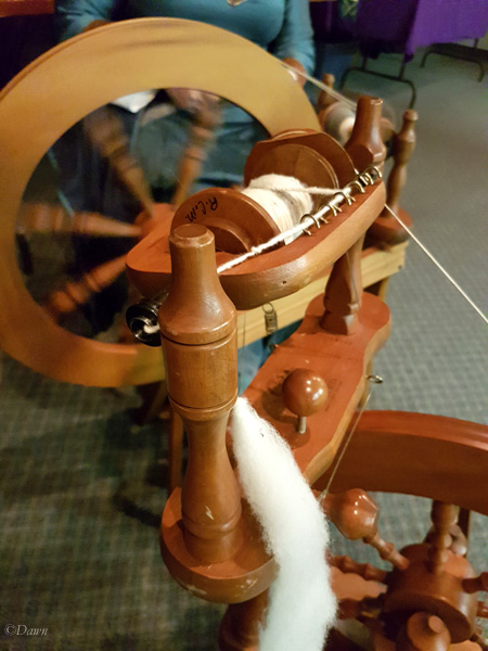 Spinning wheel at Harvest Feast, A&S class