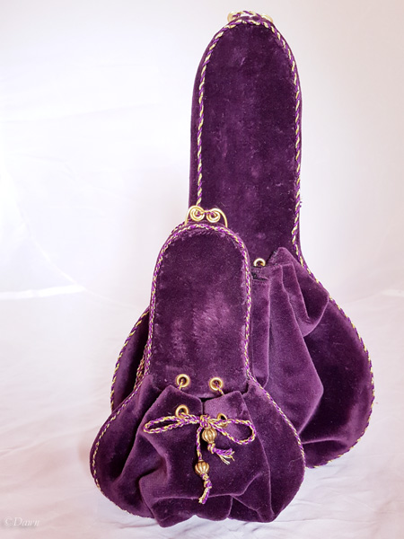 "Large and small ""Lute"" shaped purple velvet purses (front)"