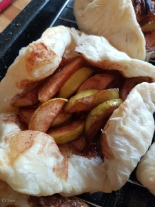 Apple tart in a puff pastry shell - using backyard apples