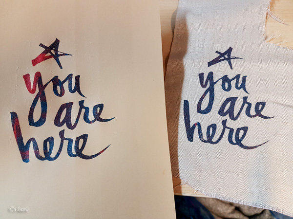 Screen printing on paper (left) and fabric (right)