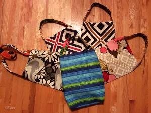 Five tote bags