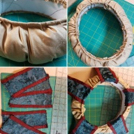 """Stages of constructing a """"padded roll"""" hat in a 15th century Italian/Spanish style"""