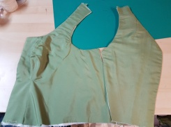Front and back bodice sections ready for hand-work