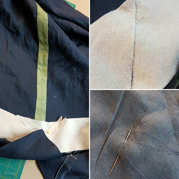 Steps hemming the green silk petticoat and padding the hem.