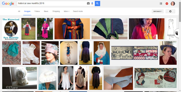 Screenshot of Google's Image Search for Historical Sew Monthly
