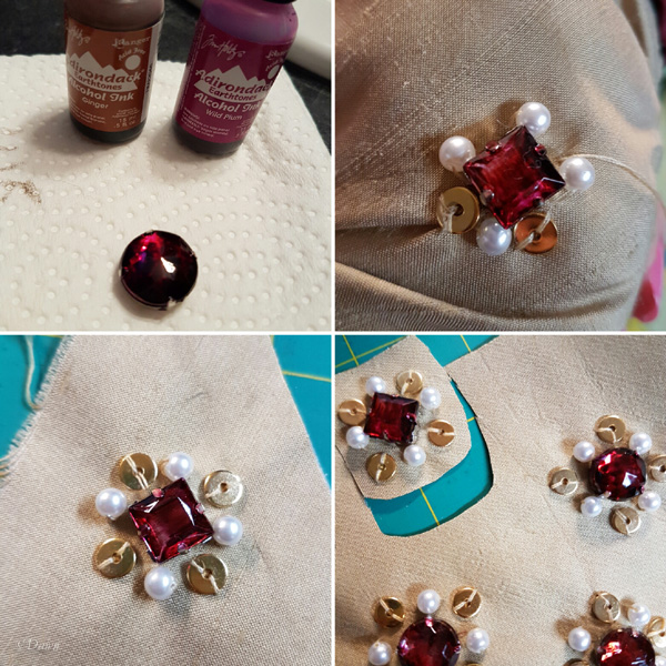The steps for embellishing my new Italian Renaissance headwear