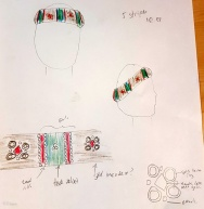 "Concept sketch for my Italian ""padded roll"" style of hat, based on my inspiration painting"