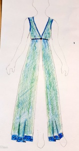 Concept sketch for the overdress. I ended up not adding the trim at the hem, and did a belt with a splash of copper.