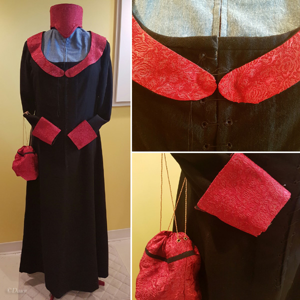 Dress with the cuffs, collar, and a little matching pouch