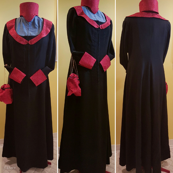 Front, side, and back of the black wool dress with red brocade cuffs, hat, collar, and pouch.
