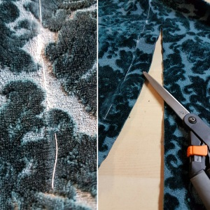 Marking the hem with chalk, basting, and cutting off the excess fabric.