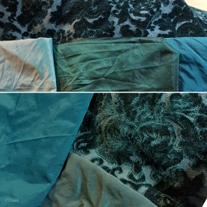 Selecting fabrics for binding the teal figured velvet overdress