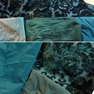 Selecting fabrics for binding the teal figured velvet overdress