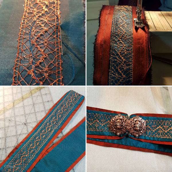 Work-in-progress photo collage of making the belt for my teal overdress.
