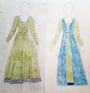Concept sketch for the matcha-green silk dress and the teal figured velvet over dress