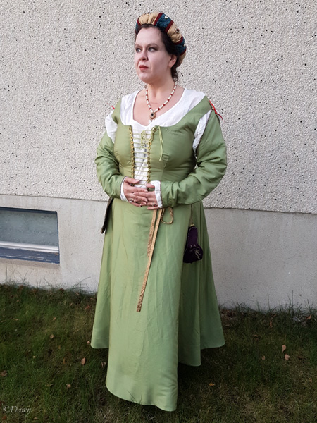 """Completed bodice and skirt in green silk for the Italian """"celebration"""" outfit"""