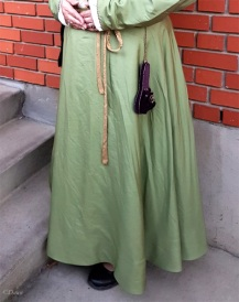 Green silk petticoat for my Italian outfit. Lined in blue linen, with a back closure