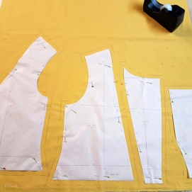Laying out the pattern for the Cranach gown bodice. I wanted the seam allowances to be precise, so I noted them in pencil right on the fabric.